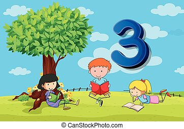 Flashcard number 3 with three children in the park