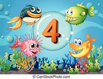 Flashcard number 4 with 4 fish underwater