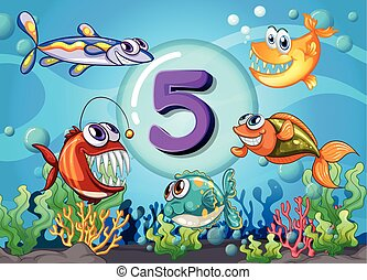 Flashcard number 5 with 5 fish underwater