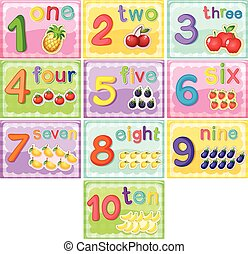 Flashcard number one to ten illustration