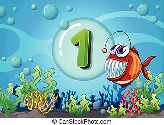 Flashcard number one with 1 fish underwater
