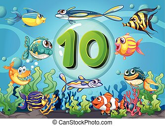 Flashcard number ten with 10 fish underwater