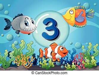 Flashcard number three with 3 fish underwater