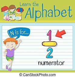 flashcard, numerator, lettera n