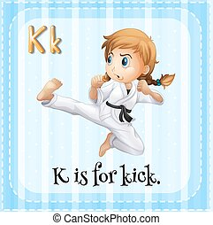 Flashcard of K is for kick