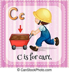 Flashcard of letter C illustration