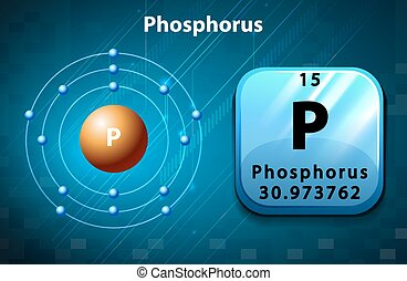 Flashcard of phosphorus atom illustration