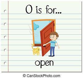 flashcard, ouvert, lettre, o
