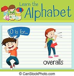 flashcard, overalls, brief, o