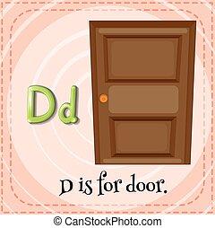 flashcard, porta, d, letra