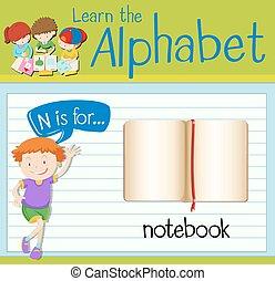 flashcard, quaderno, lettera n