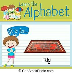 flashcard, r, 敷物, 手紙