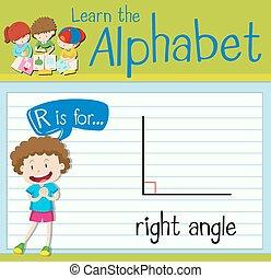 flashcard, r, angle droit, lettre