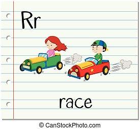 flashcard, r, raça, letra