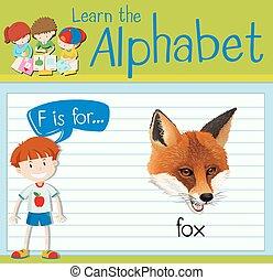 flashcard, renard, lettre f