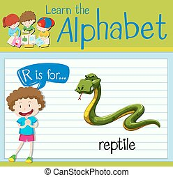 flashcard, reptile, r, lettre