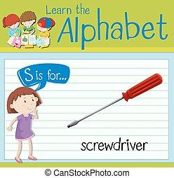 flashcard, s, śrubokręt, litera