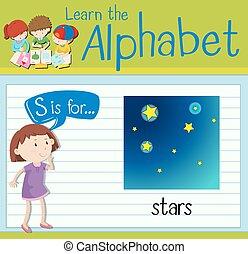flashcard, s, 星, 手紙