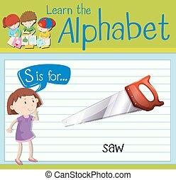 flashcard, s, 鋸, 手紙