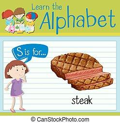flashcard, s, bistecca, lettera