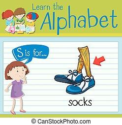 flashcard, s, carta, calcetines