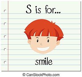 flashcard, s de carta, es, para, sonrisa