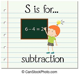 flashcard, s de carta, es, para, substracción
