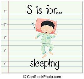 flashcard, s de carta, es, para, sueño