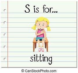 flashcard, s, lettera, seduta