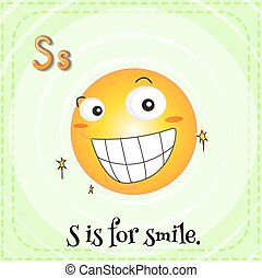 flashcard, s, lettera, sorriso