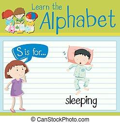 flashcard, s, lettre, dormir