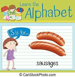 flashcard, s, saucisses, lettre