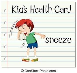 flashcard, s, vzkaz, kýchnutí