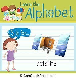 flashcard, satelita, s, litera