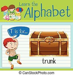 flashcard, t, brev, trunk
