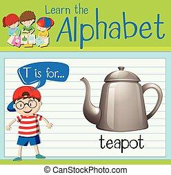 flashcard, t, carta, tetera