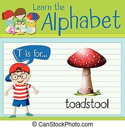 flashcard, toadstool, t, 手紙