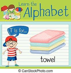 flashcard, toalla, t, carta