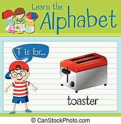 flashcard, tostadora, t, carta