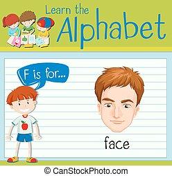 flashcard, twarz, litera f
