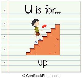 flashcard, u, haut, lettre