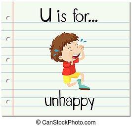 flashcard, u, lettre, malheureux