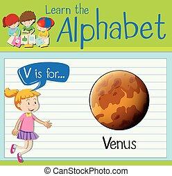 flashcard, vénus, lettre, v
