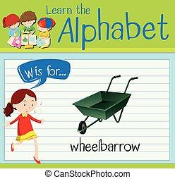 flashcard, w, letra, carrinho de mão