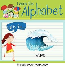 flashcard, w, letra, onda