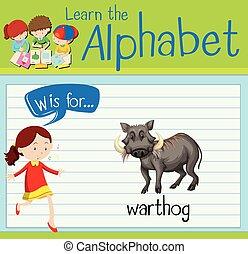 flashcard, warthog, w, letra