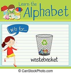 flashcard, wastebasket, w, letra