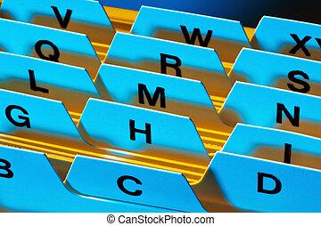 flashcards register - alphabetical index to sort index...