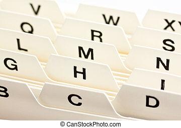 flashcards register - alphabetical index for sorting cards....