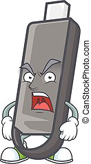 Flashdisk cartoon character design with angry face